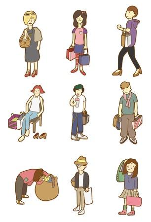 citylife: cartoon woman shopping  Illustration