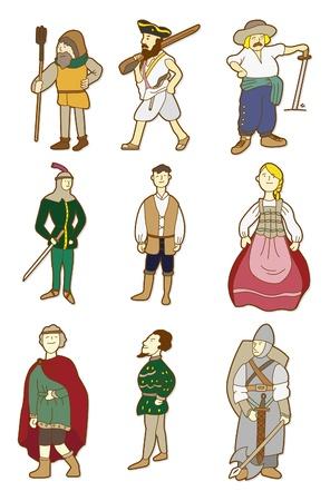 medieval swords: dibujo animado de personas de edad media