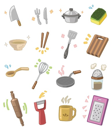domestic kitchen: cartoon kitchen utensils  Illustration