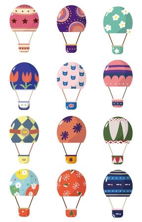airship: cartoon hot air balloons