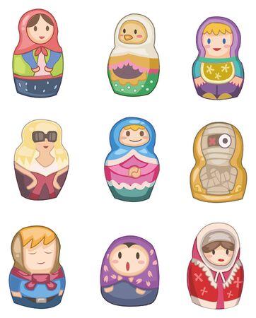 babushka: cartoon Russian dolls icon Illustration