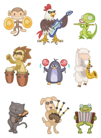 drawing instrument: cartoon animal play music icon Illustration