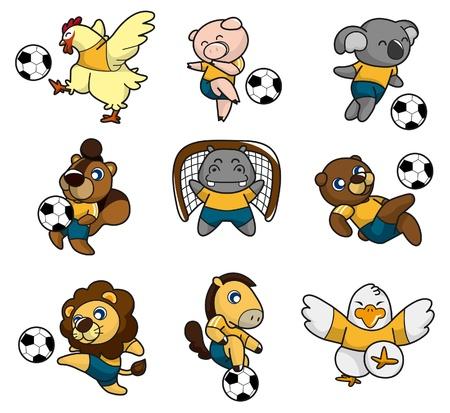 jugador de futbol soccer: icono de dibujos animados animal soccer player