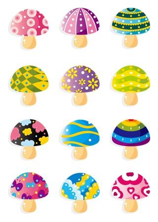 cartoon Mushrooms icon Vector