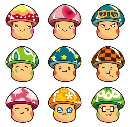pilz cartoon: Cartoon-Pilze-Symbol Illustration