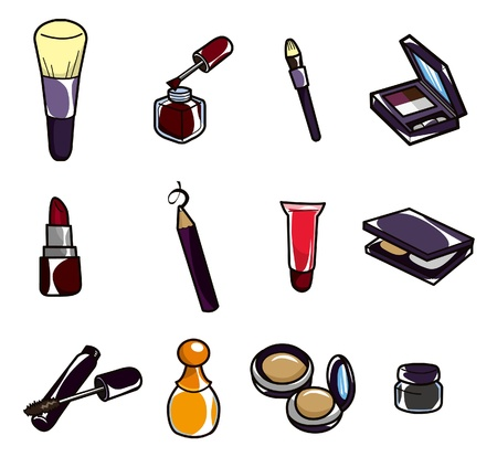 cosmetics collection: cartoon makeup icon Illustration