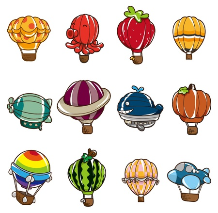 airship: cartoon hot air balloon icon Illustration