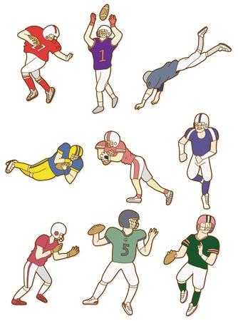 cartoon football player icon Vector