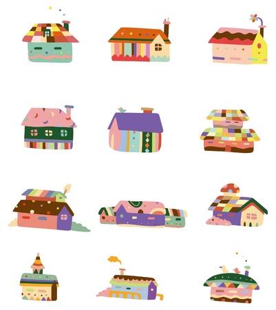 cartoon color house icon 向量圖像