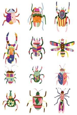 cartoon color bug icon Vector