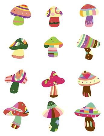 totem: caricature de champignons ic�ne Illustration
