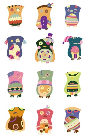 Collection of cute, colorful owls. Stock Vector - 8569367
