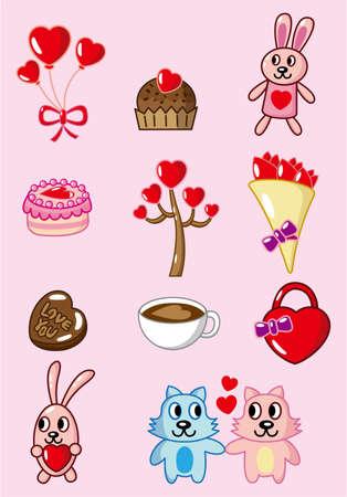 cartoon Valentine icon Vector