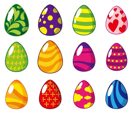 saturated color: cartoon Easter egg icon