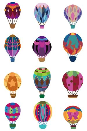 hot air balloon: cartoon hot air balloon icon Illustration