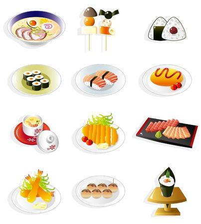 日本料理: 日本食の漫画のアイコン  イラスト・ベクター素材