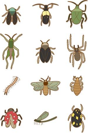 plagas: icono de insectos de dibujos animados