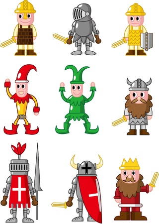 wench: cartoon medieval people icon Illustration
