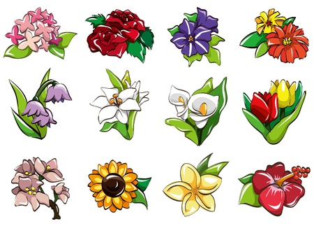 cilp: cartoon flower icon Illustration