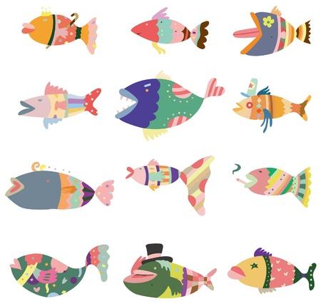 cartoon pattern fish icon  일러스트