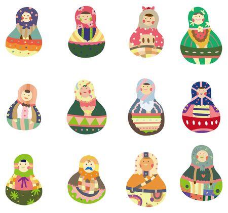 cartoon Russian dolls Stock Vector - 8579371
