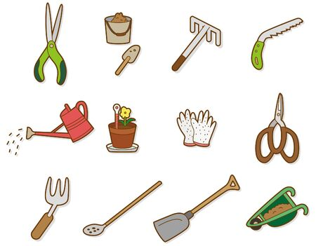 gardening tools: cartoon icon Illustration
