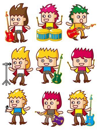 cartoon rock music band icon  Vector