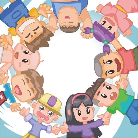 linked hands: kid card