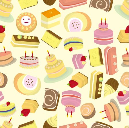 seamless Cakes pattern  Vector