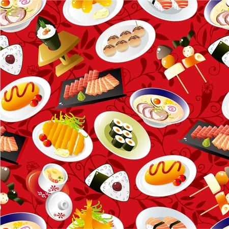 seamless Japanese food pattern  Vector