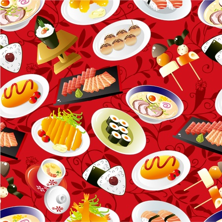 cuisine: seamless Japanese food pattern