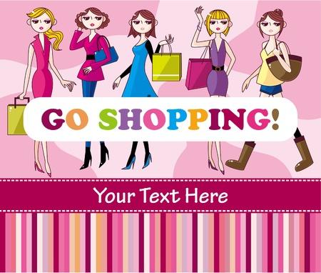 woman shopping card Stock Vector - 8598798