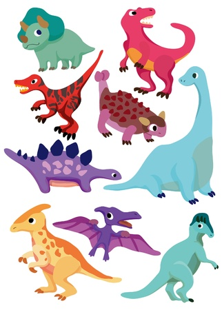 dinosaur cartoon: icono de dinosaurio de dibujos animados  Vectores