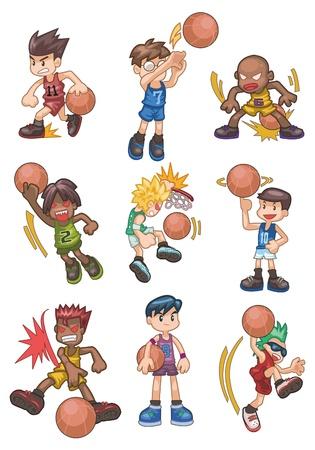 sportsman: icono de baloncesto de dibujos animados  Vectores