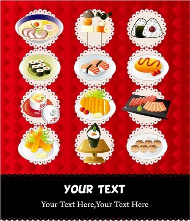 fried eggs: Japanese food menu  Illustration