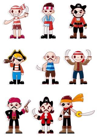 skull character: cartoon pirate icon  Illustration