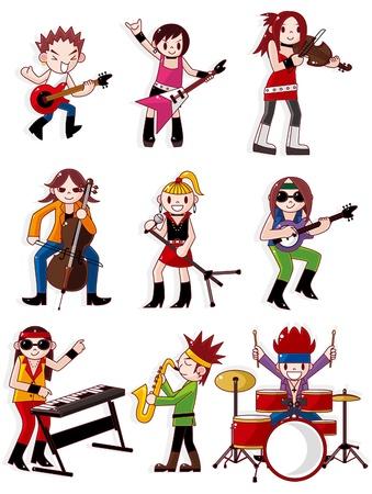 drummer: cartoon rock band icon  Illustration