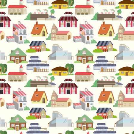 town abstract: seamless house pattern  Illustration