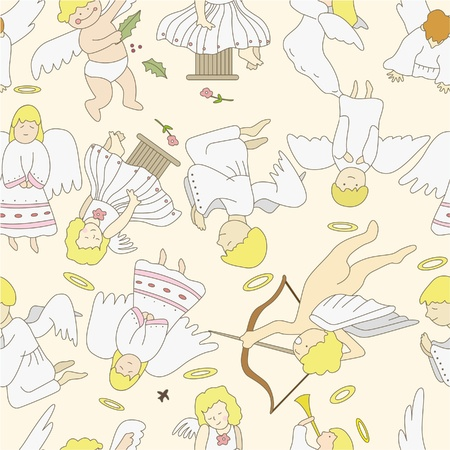 seamless angel pattern  Vector