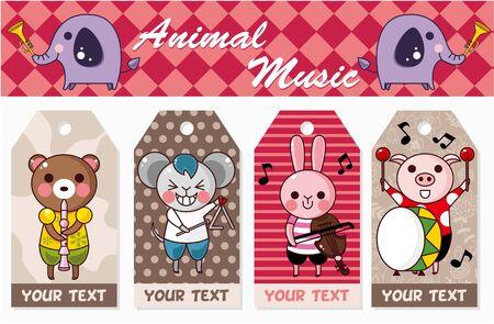 animal play music card Stock Vector - 8598800