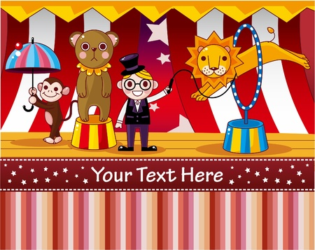 cartoon circus: circus card