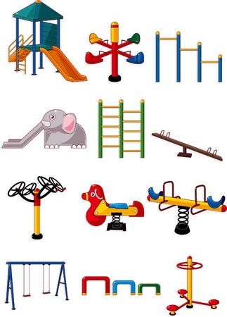 children at playground: icono de Parque infantil de dibujos animados  Vectores