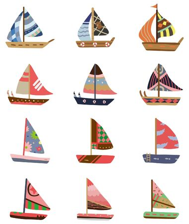 yacht isolated: cartoon Sailboat icon  Illustration