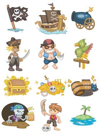 sombrero pirata: icono de pirata de dibujos animados  Vectores