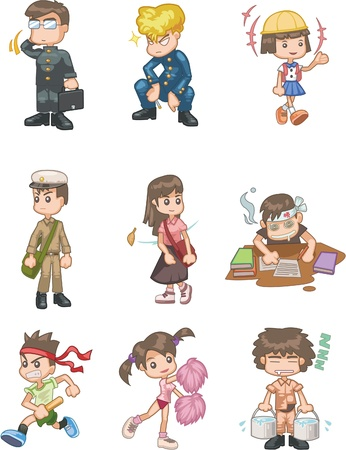 character set: cartoon student icon
