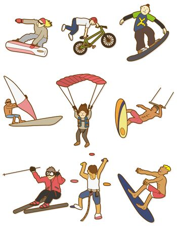 cartoon Extreme sport icon  Illustration