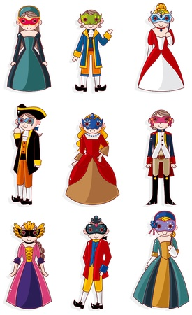 medieval woman: cartoon mask party icon