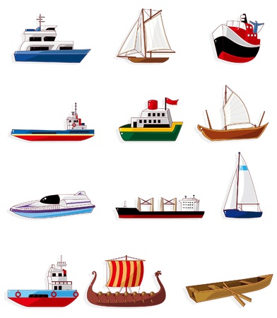 barca a vela: icona di barca Cartoon  Vettoriali