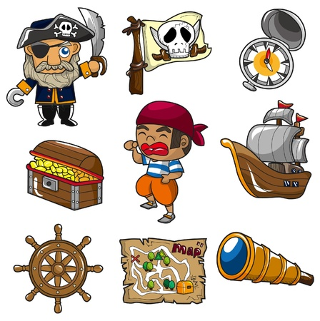 captain: cartoon pirate icon Illustration