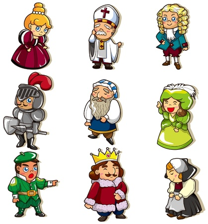 medieval woman: cartoon medieval people icon Illustration